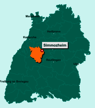 Die Karte von Simmozheim zeigt die Lage im Landkreis Calw - Der Ort 75397 Simmozheim liegt im Bundesland Baden-Württemberg