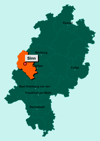 Die Karte von Sinn zeigt die Lage im Lahn-Dill-Kreis - Der Ort 35764 Sinn liegt im Bundesland Hessen