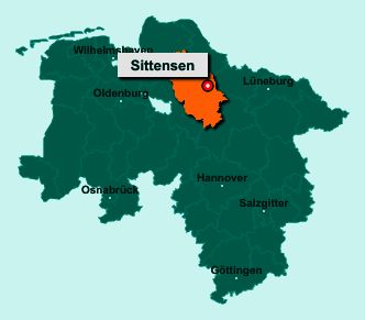 Die Karte von Sittensen zeigt die Lage im Landkreis Rotenburg (Wümme) - Der Ort 27419 Sittensen liegt im Bundesland Niedersachsen