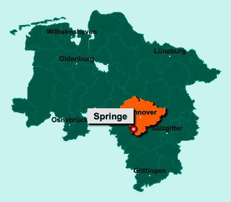 Der Lageplan von 31832 Springe zeigt die Position im Landkreis Region Hannover - Der Ort liegt im Bundesland Niedersachsen