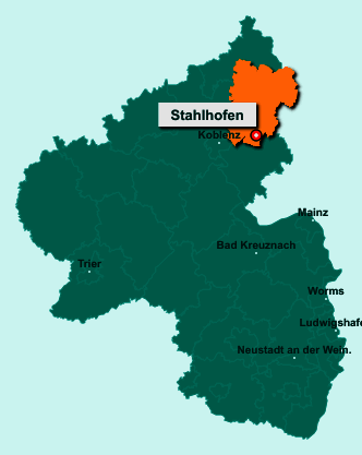 Die Karte von Stahlhofen zeigt die Lage im Westerwaldkreis - Der Ort 56412 Stahlhofen liegt im Bundesland Rheinland-Pfalz