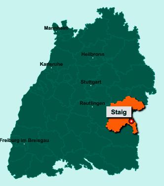 Die Karte von Staig zeigt die Lage im Alb-Donau-Kreis - Der Ort 89195 Staig liegt im Bundesland Baden-Württemberg