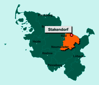Die Karte von Stakendorf zeigt die Lage im Kreis Plön - Der Ort 24217 Stakendorf liegt im Bundesland Schleswig-Holstein