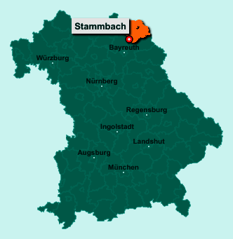 Die Karte von Stammbach zeigt die Lage im Landkreis Hof - Der Ort 95236 Stammbach liegt im Bundesland Bayern