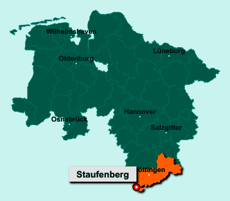 Die Karte von Staufenberg zeigt die Lage im Landkreis Göttingen - Der Ort 34355 Staufenberg liegt im Bundesland Niedersachsen