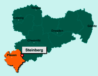 Die Karte von Steinberg zeigt die Lage im Vogtlandkreis - Der Ort 08237 Steinberg liegt im Bundesland Sachsen