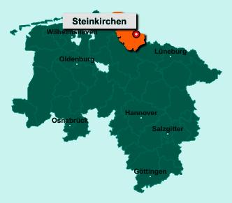 Die Karte von Steinkirchen zeigt die Lage im Landkreis Stade - Der Ort 21720 Steinkirchen liegt im Bundesland Niedersachsen