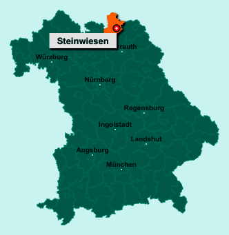 Der Lageplan von 96349 Steinwiesen zeigt die Position im Landkreis Kronach - Der Ort liegt im Bundesland Bayern