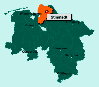 Der Lageplan von 21772 Stinstedt zeigt die Position im Landkreis Cuxhaven - Der Ort liegt im Bundesland Niedersachsen