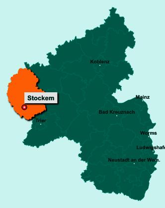 Die Karte von Stockem zeigt die Lage im Eifelkreis Bitburg-Prüm - Der Ort 54646 Stockem liegt im Bundesland Rheinland-Pfalz