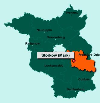 Der Lageplan von 15859 Storkow (Mark) zeigt die Position im Landkreis Oder-Spree - Der Ort liegt im Bundesland Brandenburg