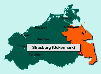 Die Karte von Strasburg (Uckermark) zeigt die Lage im Landkreis Vorpommern-Greifswald - Der Ort 17335 Strasburg (Uckermark) liegt im Bundesland Mecklenburg-Vorpommern
