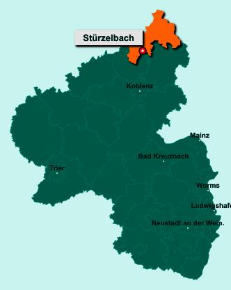 Die Karte von Stürzelbach zeigt die Lage im Landkreis Altenkirchen - Der Ort 57614 Stürzelbach liegt im Bundesland Rheinland-Pfalz