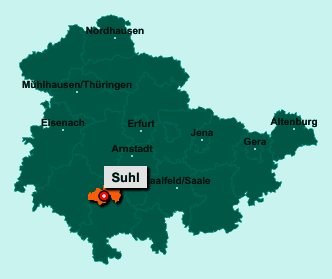 Die Karte von Suhl zeigt die Lage im Bundesland Thüringen - Suhl ist eine kreisfreie Stadt