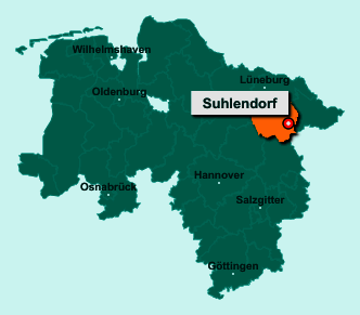 Der Lageplan von 29562 Suhlendorf zeigt die Position im Landkreis Uelzen - Der Ort liegt im Bundesland Niedersachsen