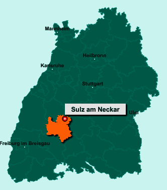 Der Lageplan von 72172 Sulz am Neckar zeigt die Position im Landkreis Rottweil - Der Ort liegt im Bundesland Baden-Württemberg