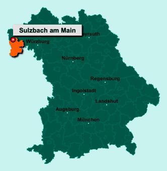 Der Lageplan von 63834 Sulzbach am Main zeigt die Position im Landkreis Miltenberg - Der Ort liegt im Bundesland Bayern
