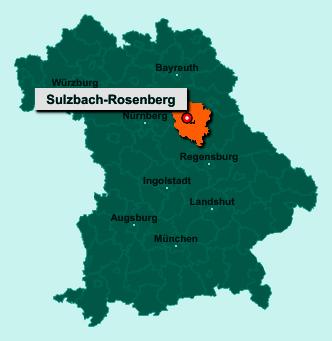 Der Lageplan von 92237 Sulzbach-Rosenberg zeigt die Position im Landkreis Amberg-Sulzbach - Der Ort liegt im Bundesland Bayern
