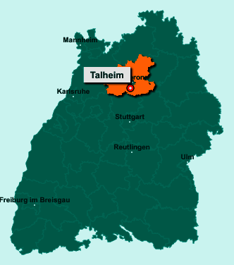 Die Karte von Talheim zeigt die Lage im Landkreis Heilbronn - Der Ort 74388 Talheim liegt im Bundesland Baden-Württemberg