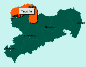 Der Lageplan von 04425 Taucha zeigt die Position im Landkreis Nordsachsen - Der Ort liegt im Bundesland Sachsen