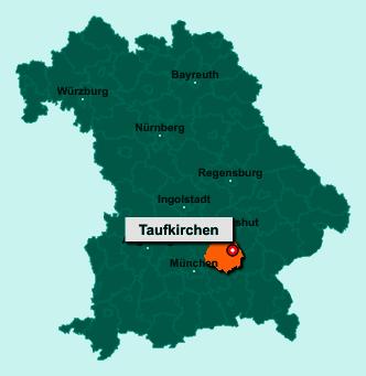 Der Lageplan von 84416 Taufkirchen zeigt die Position im Landkreis Erding - Der Ort liegt im Bundesland Bayern