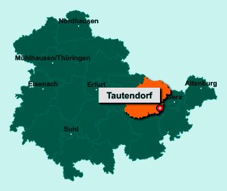Der Lageplan von 07646 Tautendorf zeigt die Position im Saale-Holzland-Kreis - Der Ort liegt im Bundesland Thüringen