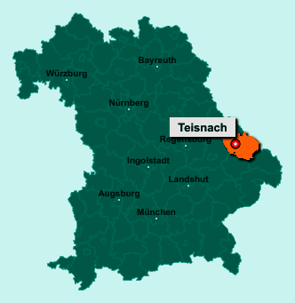 Der Lageplan von 94244 Teisnach zeigt die Position im Landkreis Regen - Der Ort liegt im Bundesland Bayern