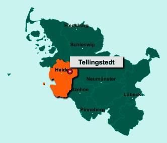 Der Lageplan von 25782 Tellingstedt zeigt die Position im Kreis Dithmarschen - Der Ort liegt im Bundesland Schleswig-Holstein