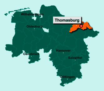 Die Karte von Thomasburg zeigt die Lage im Landkreis Lüneburg - Der Ort 21401 Thomasburg liegt im Bundesland Niedersachsen