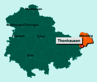 Die Karte von Thonhausen zeigt die Lage im Landkreis Altenburger Land - Der Ort 04626 Thonhausen liegt im Bundesland Thüringen