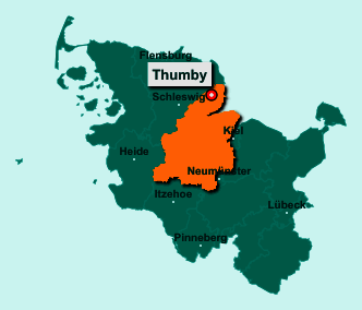 Die Karte von Thumby zeigt die Lage im Kreis Rendsburg-Eckernförde - Der Ort 24351 Thumby liegt im Bundesland Schleswig-Holstein