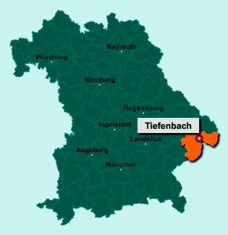 Der Lageplan von 94113 Tiefenbach zeigt die Position im Landkreis Passau - Der Ort liegt im Bundesland Bayern