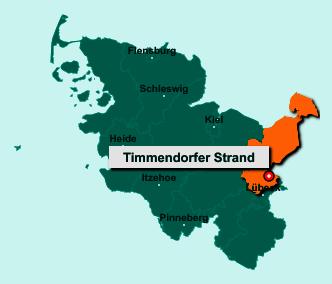 Der Lageplan von 23669 Timmendorfer Strand zeigt die Position im Kreis Ostholstein - Der Ort liegt im Bundesland Schleswig-Holstein