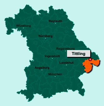 Die Karte von Tittling zeigt die Lage im Landkreis Passau - Der Ort 94104 Tittling liegt im Bundesland Bayern