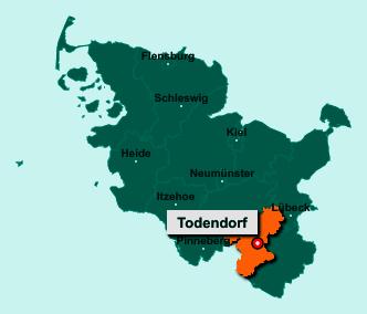 Die Karte von Todendorf zeigt die Lage im Kreis Stormarn - Der Ort 22965 Todendorf liegt im Bundesland Schleswig-Holstein