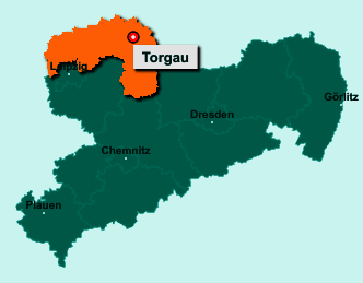 Der Lageplan von Torgau zeigt die Position im Landkreis Nordsachsen - Der Ort liegt im Bundesland Sachsen