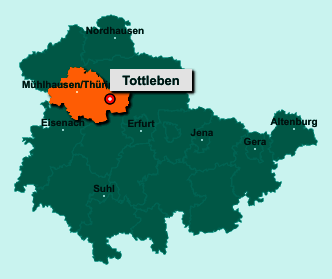 Die Karte von Tottleben zeigt die Lage im Unstrut-Hainich-Kreis - Der Ort 99947 Tottleben liegt im Bundesland Thüringen