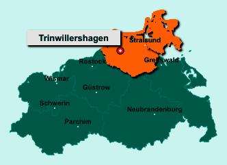 Der Lageplan von 18320 Trinwillershagen zeigt die Position im Landkreis Vorpommern-Rügen - Der Ort liegt im Bundesland Mecklenburg-Vorpommern
