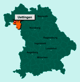 Der Lageplan von 97292 Uettingen zeigt die Position im Landkreis Würzburg - Der Ort liegt im Bundesland Bayern