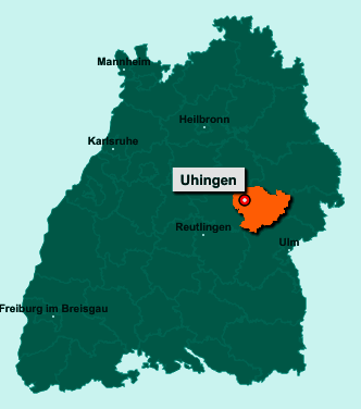 Der Lageplan von 73066 Uhingen zeigt die Position im Landkreis Göppingen - Der Ort liegt im Bundesland Baden-Württemberg