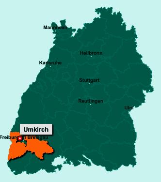 Die Karte von Umkirch zeigt die Lage im Landkreis Breisgau-Hochschwarzwald - Der Ort 79224 Umkirch liegt im Bundesland Baden-Württemberg