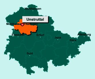 Die Karte von Unstruttal zeigt die Lage im Unstrut-Hainich-Kreis - Der Ort Unstruttal liegt im Bundesland Thüringen
