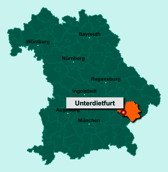 Standort 84339 Unterdietfurt auf der Bundeslandkarte von Bayern