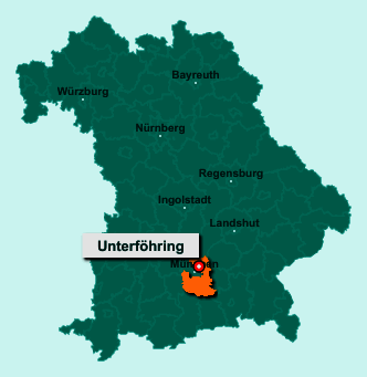 Die Karte von Unterföhring zeigt die Lage im Landkreis München - Der Ort 85774 Unterföhring liegt im Bundesland Bayern
