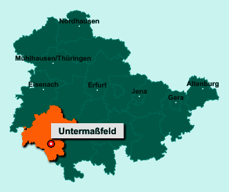Die Karte von Untermaßfeld zeigt die Lage im Landkreis Schmalkalden-Meiningen - Der Ort 98617 Untermaßfeld liegt im Bundesland Thüringen