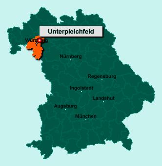 Die Karte von Unterpleichfeld zeigt die Lage im Landkreis Würzburg - Der Ort 97294 Unterpleichfeld liegt im Bundesland Bayern