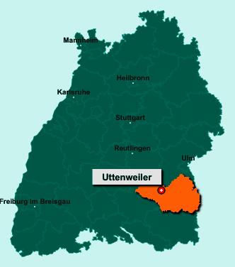 Die Karte von Uttenweiler zeigt die Lage im Landkreis Biberach - Der Ort 88524 Uttenweiler liegt im Bundesland Baden-Württemberg