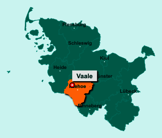 Die Karte von Vaale zeigt die Lage im Kreis Steinburg - Der Ort Vaale liegt im Bundesland Schleswig-Holstein