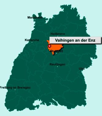 Der Lageplan von 71665 Vaihingen an der Enz zeigt die Position im Landkreis Ludwigsburg - Der Ort liegt im Bundesland Baden-Württemberg
