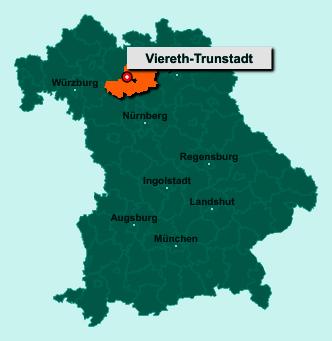 Der Lageplan von 96191 Viereth-Trunstadt zeigt die Position im Landkreis Bamberg - Der Ort liegt im Bundesland Bayern